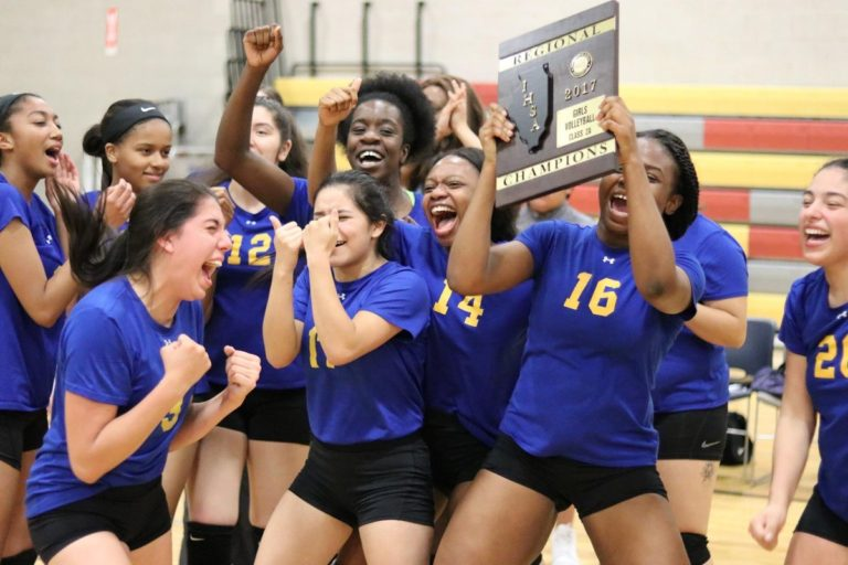 Girls' Volleyball takes IHSA Regional Championship, first time in HT's history!
